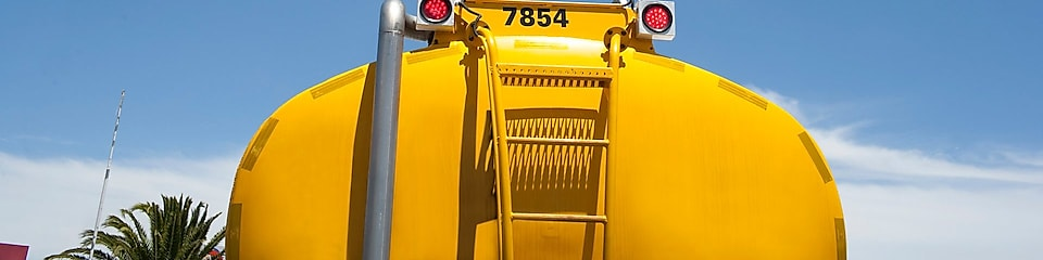 Rear view of a Shell yellow tanker