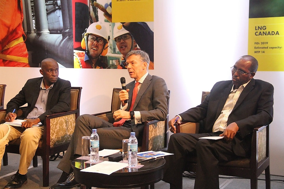 Panelists at the recent Shell's Stakeholder Roundtable discussion on climate change. Left: Victor Akim from UNIDO, center: Marc den Hartog from Shell and right: Joseph Qamara (Vice President's Office)